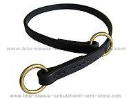 Silent leather training choke collar