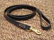 Leather dog leash stitched